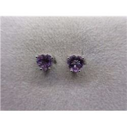 EARRINGS - 2CTW HEART FACETED AMETHYST IN STERLING SILVER SETTING - RETAIL ESTIMATE $200