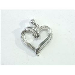 PENDANT - DIAMONDS IN STERLING SILVER RIBBON HEART DESIGN SETTING - WITH CERTIFICATE $737