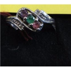 RING - 3 ASSORTED GEMSTONES( AMETHYST, RUBY & EMERALD ) & 2 DIAMONDS? - IN 10KT GOLD BI-PASS DESIGN