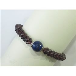BRACELET - NATURAL GARNET BEADS & NATURAL ROUND LAPIS LAZULI IN 925 STERLING SILVER SETTING - WITH C