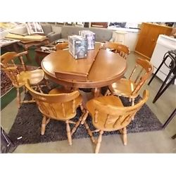 KROEHLER MAPLE DINING TABLE WITH LEAF & 6 CHAIRS