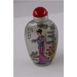 SNUFF BOTTLE - HAND PAINTED - WITH LID LADY PINK DRESS
