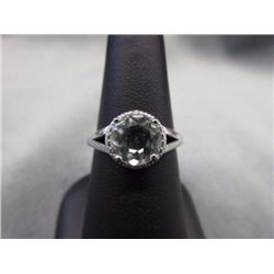 RING - GREEN AMETHYST & 2 DIAMONDS IN STERLING SILVER SETTING - RETAIL ESTIMATE $375