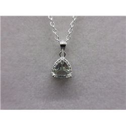 NECKLACE - TRILLUON FACETED GREEN AMETHYST & DIAMOND IN STERLING SILVER PENDANT WITH STERLING SILVER