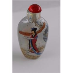 SNUFF BOTTLE - HAND PAINTED - WITH LID - LADY WITH RED & BLUE DRESS