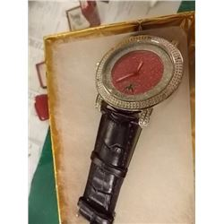 WATCH - NEW DIAMOND KING WATCH SET WITH 6 BRILLIANT DIAMONDS, RED FACE & LEATHER STRAP - RETAIL ESTI