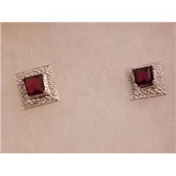 EARRINGS- NEW PRICESS FACETED GARNET & DIAMONDS IN STERLING SILVER SETTING - RETAIL ESTIMATE $250