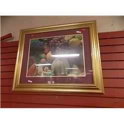 LARGE GOLD FRAMED PICTURE - STILL LIFE - FRUIT