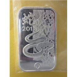 SILVER BAR - 1 TROY OUNCE .999 SILVER ART BAR - 2013 YEAR OF THE SNAKE - SOUTH AFRICAN RAND REFINERY