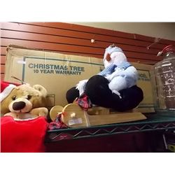 SNOW MAN ON STAND, CHRISTAMS TREE, TEDDY AND MORE