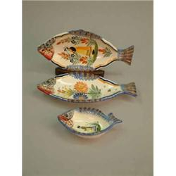 Three henriot quimper pottery dishes each in the shape of - Gallery cuisine quimper ...