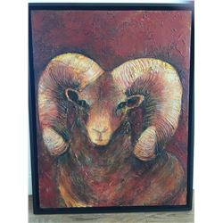 BIGHORN SCULPTED PAINTING 24X32