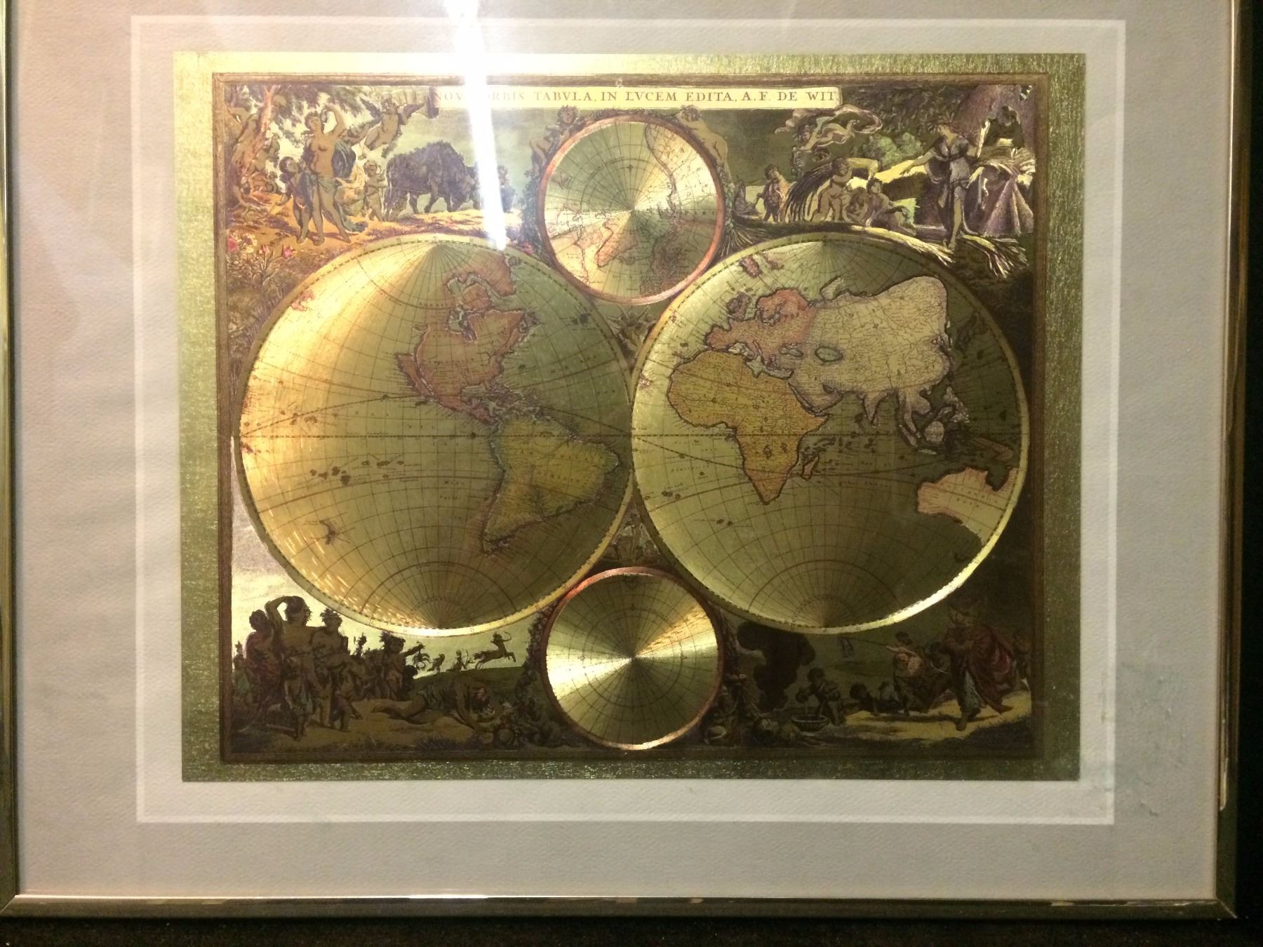 Framed 24 karat gold foil map image 1 framed 24 karat gold foil map gumiabroncs Choice Image