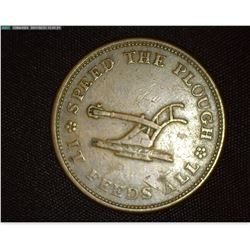 """Speed The Plow It Feeds All"", ""Walsh's General StoreLansingburgh (N.Y.) 1835"", Hard Times Token, LO"
