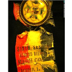1902 Sioux City, Iowa Ribbon and medal. Very frayed and in two pieces, but very scarce.