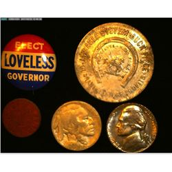 """K.P. Walter & Co…Make Your Bookie Obey Token; ""Elect Loveless Governor"" Pin-back; ""VU"" O.P.A. Token"