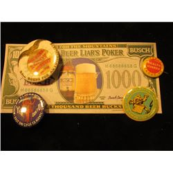"""""""Head For The Mountains Busch Beer Liar's Poker $1000"""" Note; """"East End Cycle Co. Agents"""" Pin-back; """""""