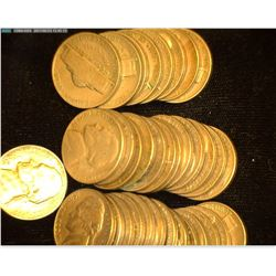 (13) 1941 P, (8) 42D, (12) 46D, & 55P Circulated Jefferson Nickels in a plastic tube with no cap.