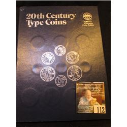 "Whitman folder ""20th Century Type Coins"" containing (4) varieties of Cents; (3) Nickel varieties; Me"