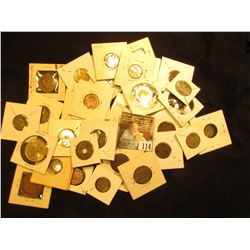 (41) Carded Foreign Coin including an 1805 dated Silver Coin & a religious pendant and pin-back.