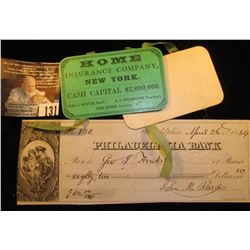 "1864 Civil War Advertising Calendar ""Home Insurance Company, New York Cash Capital $2,000,000 Chas."