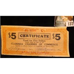 "April 10, 1933 Depression Scrip $5 ""Good For Five Dollars…Clarinda Chamber of Commerce…"" Rare Red Se"