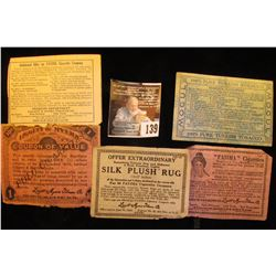 "Five Different Tobacco Company Scrip. 1914-1915, ""Fatima"" & ""Liggett Myers""."