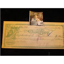 """College Bank Denver, Col. Jan. 22, 1897"" Scrip or Check depicting locomotive hauling out a group of"