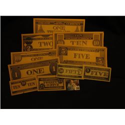 11-piece set of Type One College Currency. 'Doc' valued this group at $75.00.