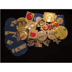Group of Political items including coasters, Pin tabs, Pin-backs, & etc.