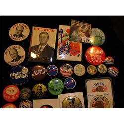 (25) Political Pin-backs and etc. in a plastic bag.