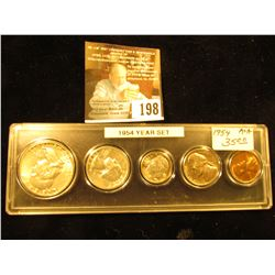 1954 Various Mint Mark Year Set in a plastic Snaptight case. All the coins are Uncirculated except t