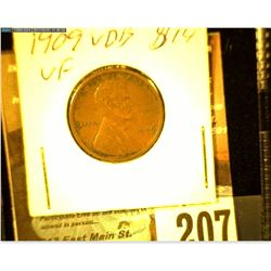 1909 P VDB Lincoln Cent, VF.