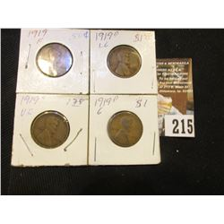 1919 P F, 19 D G, 19 D VG, & 19 S VF Lincoln Cents.