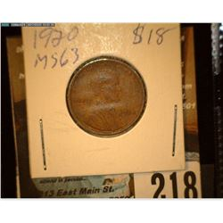 1920 P Lincoln Cent, Brown Uncirculated.