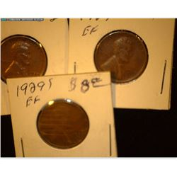 1929 P, D, & S Lincoln Cents, EF.