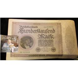Series 1923 German Reichsbanknote 100,000 Mark. VF.