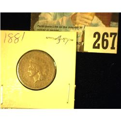 1881 Indian Head Cent, Good.