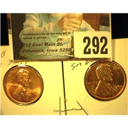 1960 P & D Small Date Red Gem Uncirculated Lincoln Cents.