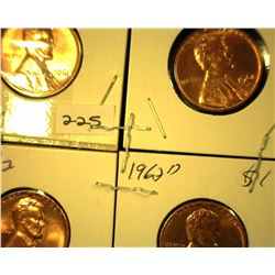 1961 P, D, 62 P, & D Red Gem Uncirculated Lincoln Cents.