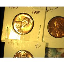 1963 D, 64 P, & 64 D Red Gem Uncirculated Lincoln Cents.