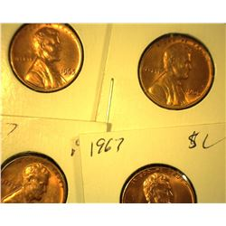 1965 P, 66 P, & (2) 67 P Red Gem Uncirculated Lincoln Cents.