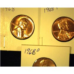 1968 P, D, & S Red Gem Uncirculated Lincoln Cents.