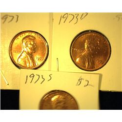 1973 P, D, & S Red Uncirculated Lincoln Cents.
