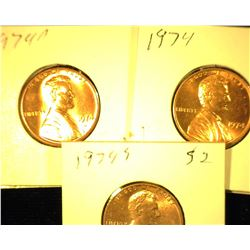 1974 P, D, & S Red Uncirculated Lincoln Cents.