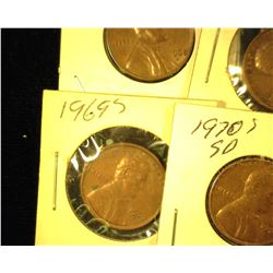 1968 S, 69P, 69S, 70S, 71S, 72S, & 74S Circulated Lincoln Cents.