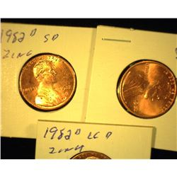 1982 P & D Large Date Zinc & 1982 D Small Date Zinc Lincoln Cents, all Red Uncirculated Lincoln Cent
