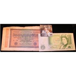 1923 German 20,000 Mark Reichsbanknote & a Great Britain One Pound Bank Note.