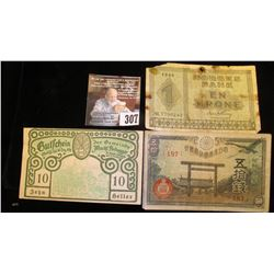 50 Yen Japanese Bank Note; 1949 Norway One Krone; & 1920 German 10 Heller Banknotes.