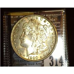 1900 P Morgan Silver Dollar, Original toned Uncirculated.